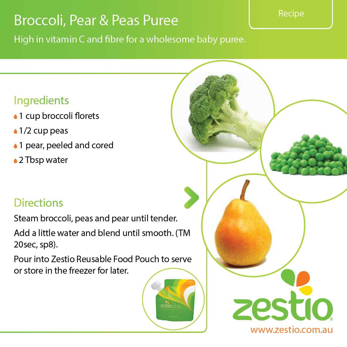 Broccoli Pear And Peas Puree Zestio
